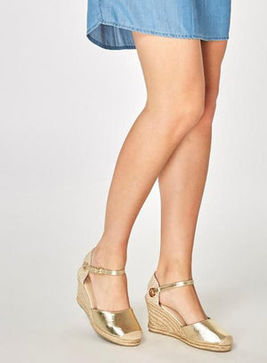 Wide Fit Gold 'Raven' Wedges - Shop Livezy Lane