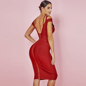 Wine Red Sexy Off Shoulder Bandage Dress