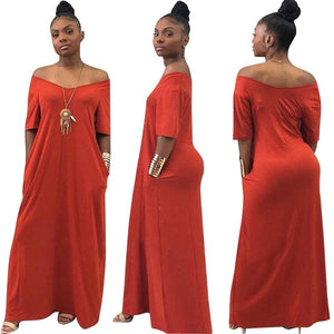 Floor Length Dress Women Solid Loose Casual Vestidos - Shop Livezy Lane