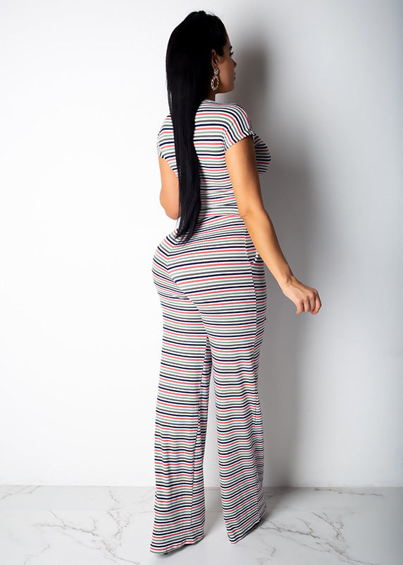 Striped 2 Piece Front Tie Short Sleeve Long Wide Pant Set
