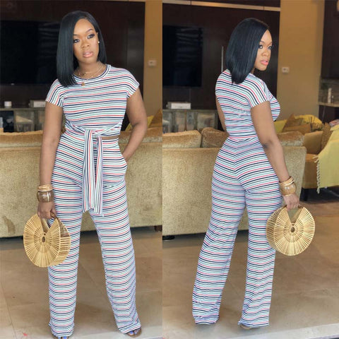 Striped 2 Piece Front Tie Short Sleeve Long Wide Pant Set - Shop Livezy Lane