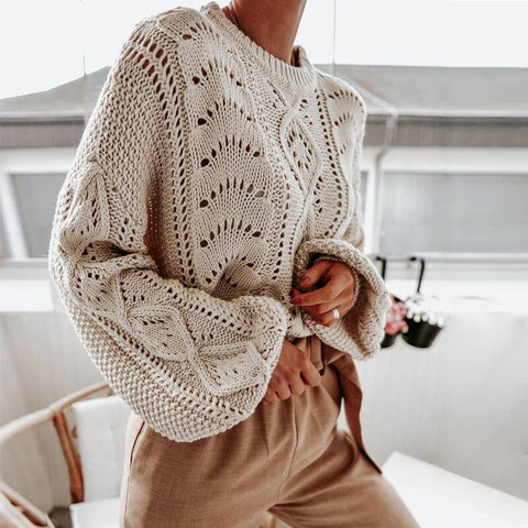 Hollow Out Lantern Sleeve Knitted Sweater