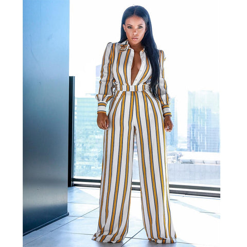 Elegant Striped Print Jumpsuit - Shop Livezy Lane