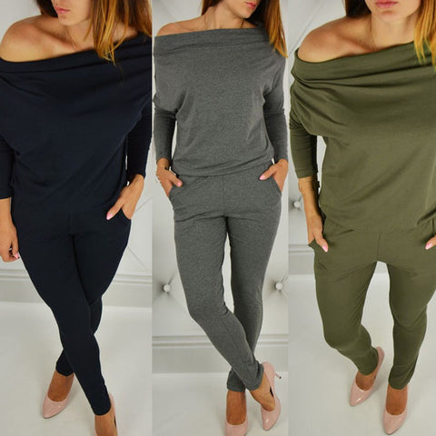 Off Shoulder Overalls Long Sleeve Stretchy Jumpsuit - Shop Livezy Lane