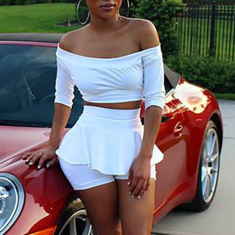Sexy Off Shoulder Short Top Half Sleeve Short Set - Shop Livezy Lane
