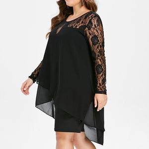 Sheer, Lace Sleeve, High Low Hem, O-Neck Swing Dress  - Sizes 12-20 - Shop Livezy Lane