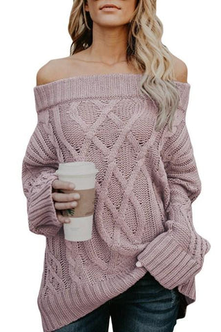 Fashion Pink Off The Shoulder Winter Sweater