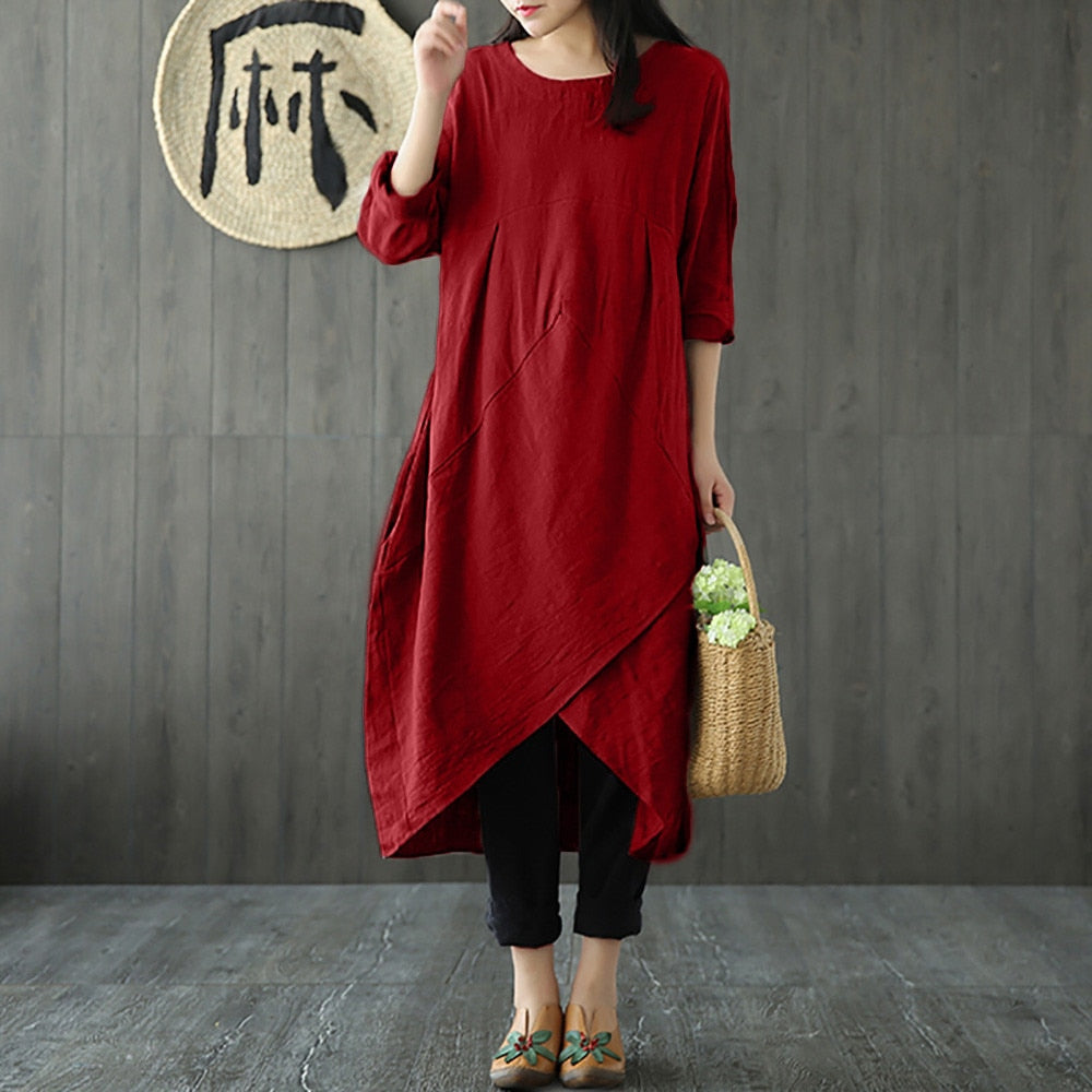 Vintage Cotton and Linen Long Sleeve Loose Midi Dress Tunic