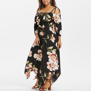 Off Shoulder Lace Up Floral Print Dress - Shop Livezy Lane