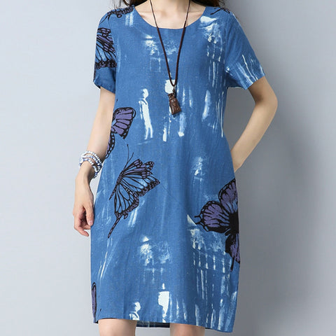 Bohemian Butterfly Print Cotton Linen Dress - Shop Livezy Lane
