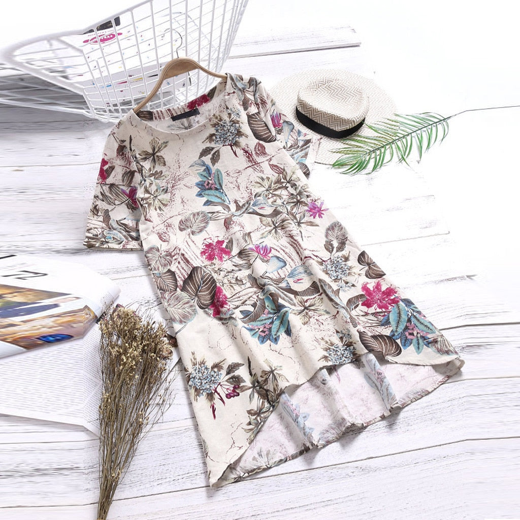 Loose Boho Ladies O-Neck Floral Printed Short Sleeve Dress - Shop Livezy Lane