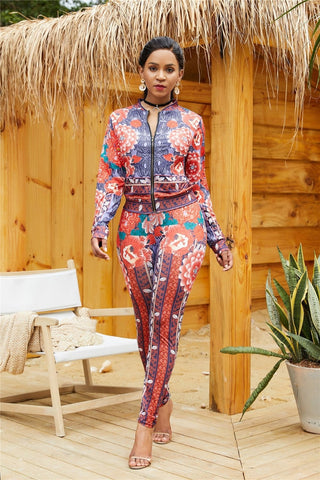 Print Bodycon Long Sleeve Zipper Jacket With Pants- Two Piece Set - Shop Livezy Lane