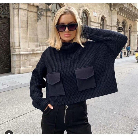 Women Turtleneck Knitted Sweater With Pockets