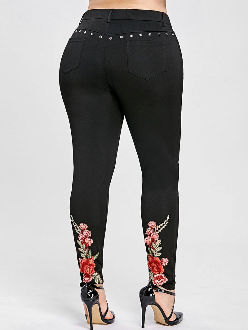 Flower High Waist Elastic Rivet Skinny Trousers Large Size - Shop Livezy Lane