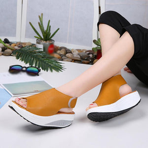 Shake Shoes Summer Sandals Fish mouth Thick Bottom Sandals - Shop Livezy Lane