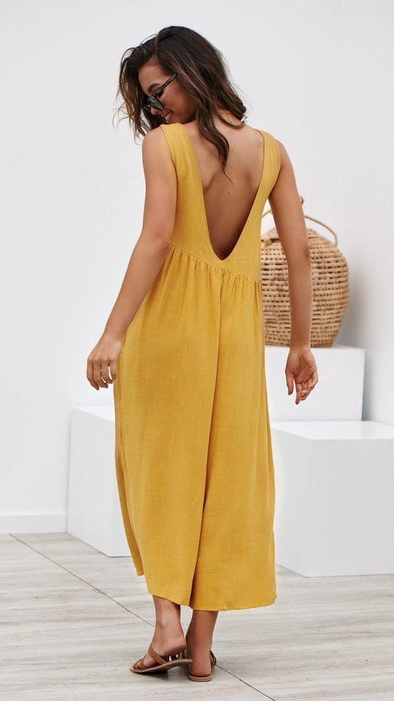Sexy Backless Pleated Jumpsuit - Shop Livezy Lane