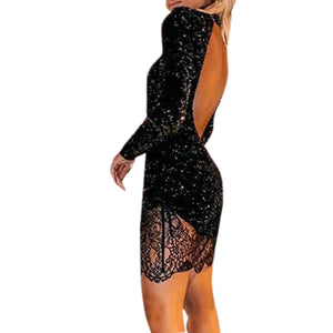 Sexy Black Sequin Long Sleeve Backless Bodycon Dress - Shop Livezy Lane