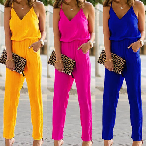 Spaghetti Strap Cotton Jumpsuit - Shop Livezy Lane