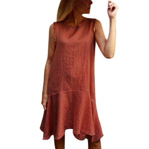 Retro Cotton Linen Dress Short Sleeve Pockets Vintage Dress - Shop Livezy Lane