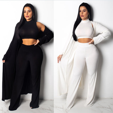 Ribbed 3 Piece Turtleneck, Sleeveless Crop Top & Wide Leg Pants Set - Shop Livezy Lane