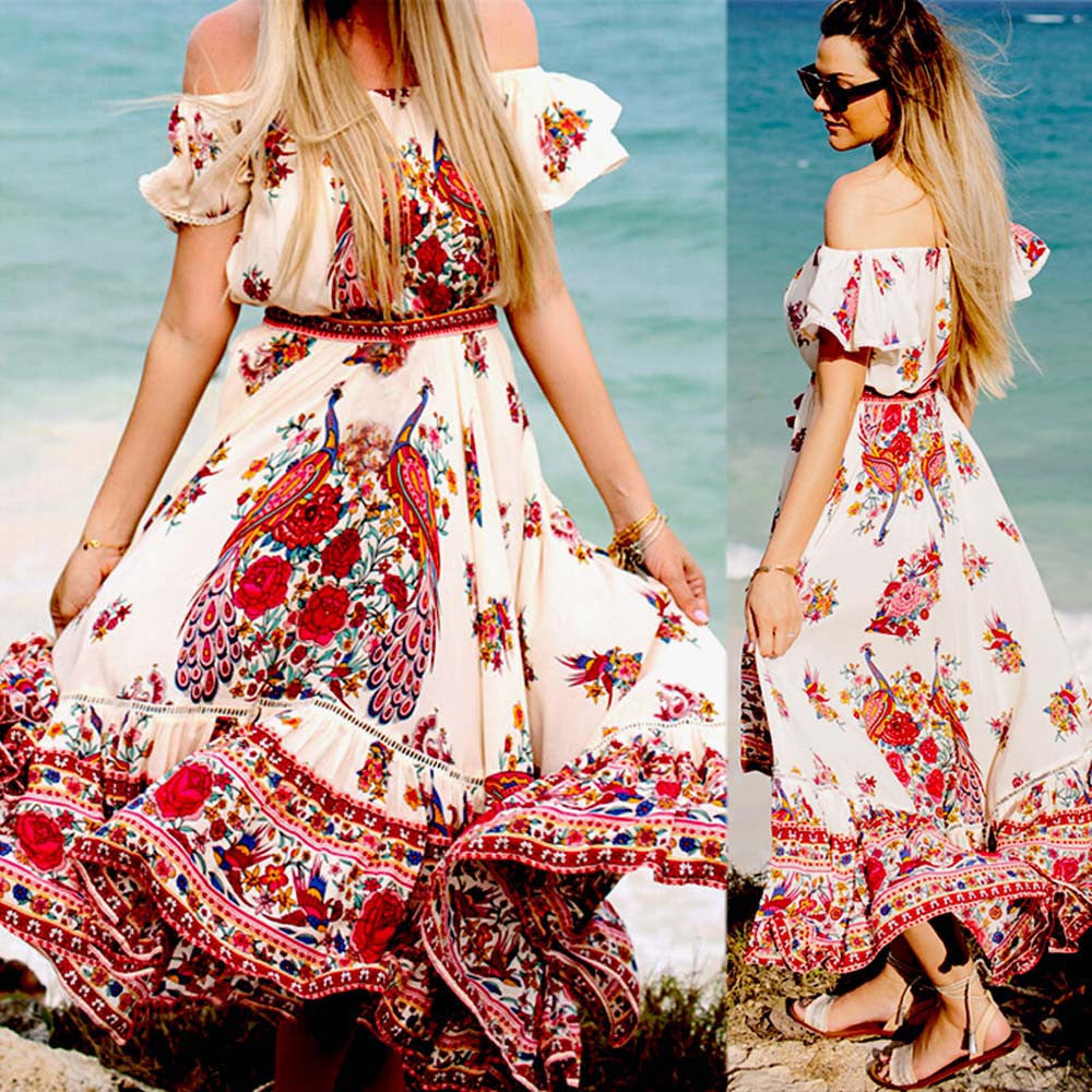 Free Ostrich Chiffon Bohemian Long Maxi Dress - Shop Livezy Lane