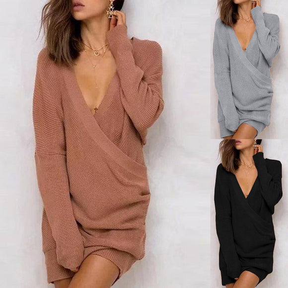 Sexy Deep V-neck Long Sleeve Casual Sweater Dress - Shop Livezy Lane