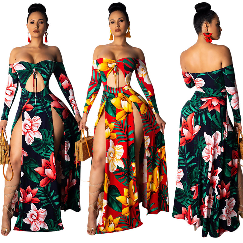 Leaf Floral Print Maxi  Dress - Shop Livezy Lane