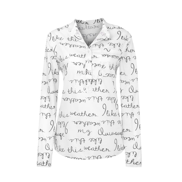 V-Neck Button Long Sleeve Letter Blouse Pullover  Shirt