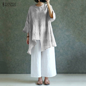 Vintage Linen Long Sleeve Loose Casual Shirt or Dress