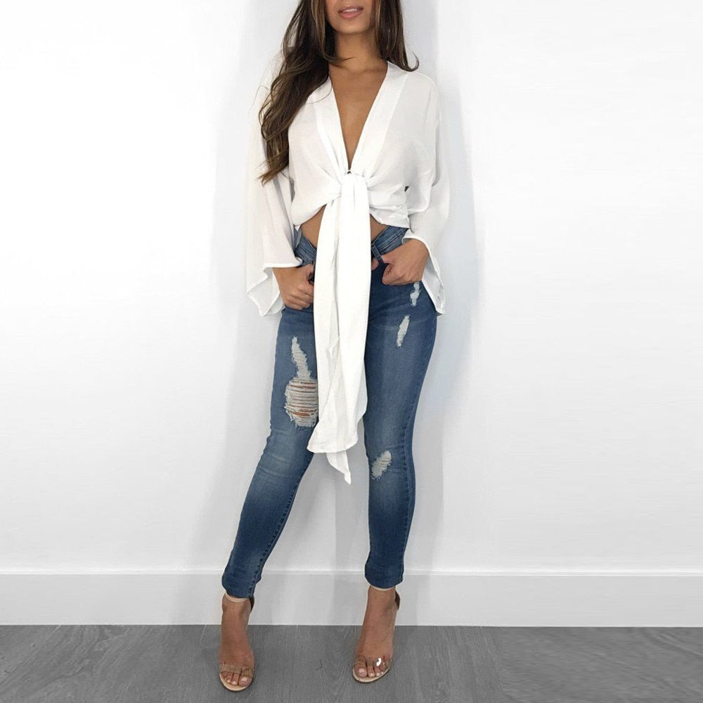 Long Bell Sleeve Bow Tie Knot Crop Blouse - Shop Livezy Lane