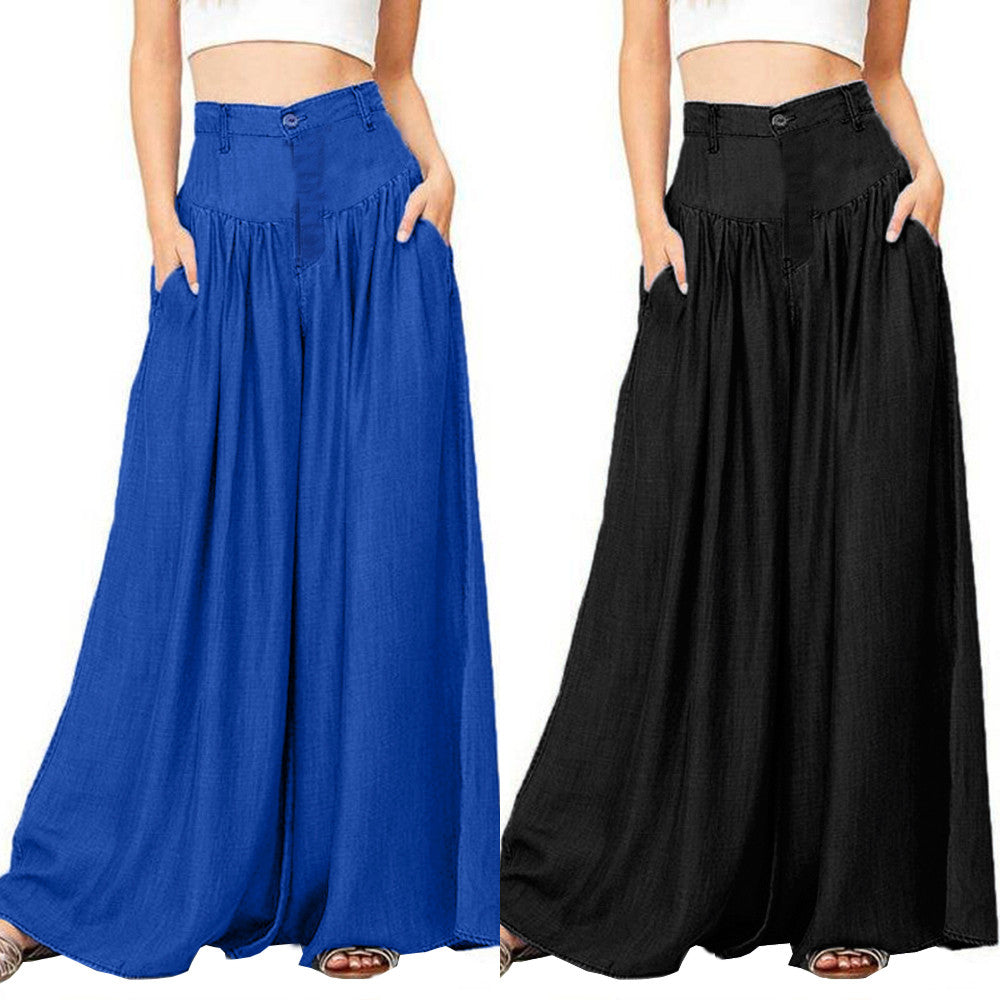 Cotton Boho Casual High Waist Button Loose Pants - Shop Livezy Lane