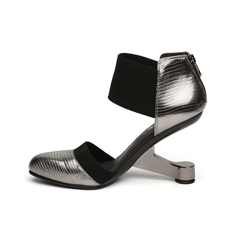 Two-Piece Round Toe Metal High Heel