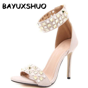 Women Luxury Rivet High Heels Suede Leather Sexy Roman Stiletto Ladies