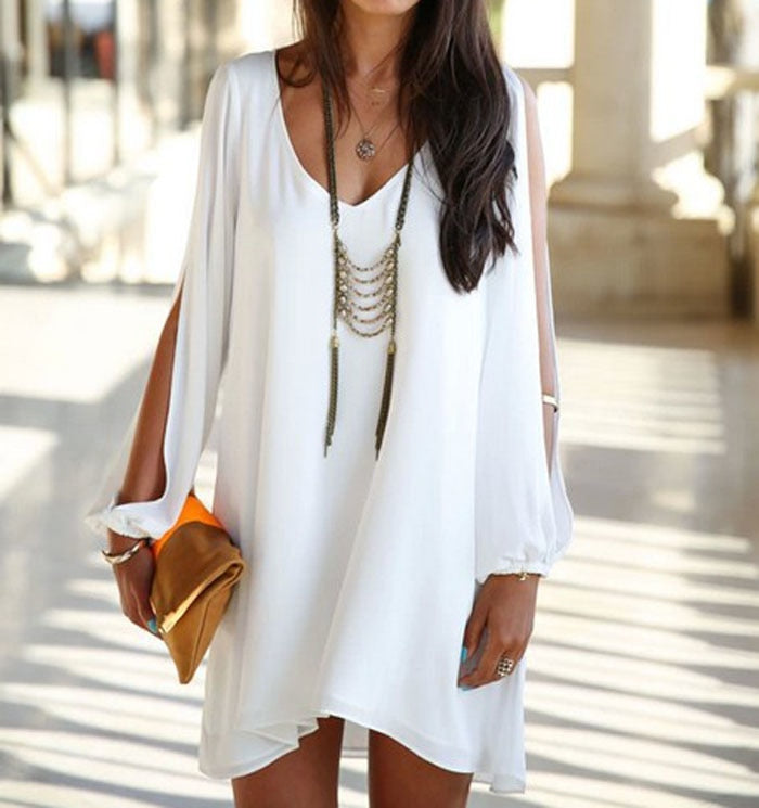Sexy V- Neck Asymmetrical White Mini Dress - Shop Livezy Lane