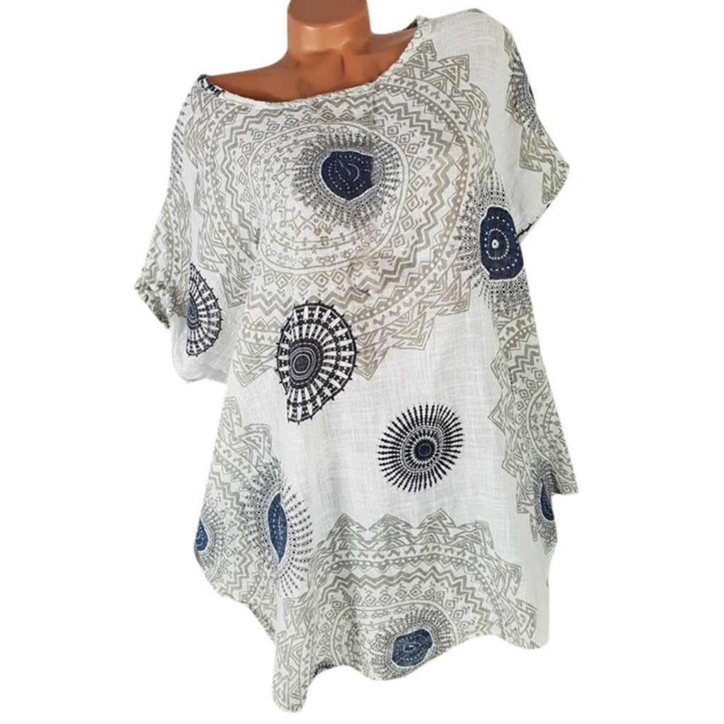 Short Sleeve Tunic Casual Round Neck Top - Shop Livezy Lane