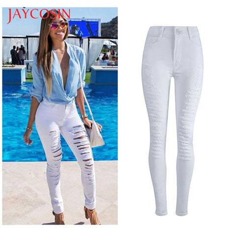 Denim Skinny Stretch Pencil High Waist Ripped Jeans - Shop Livezy Lane