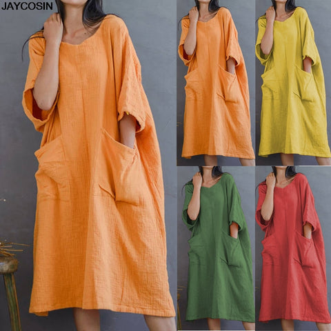 Solid Half Sleeve Two Big Pockets Cotton And Linen Loose Casual Dress - Shop Livezy Lane
