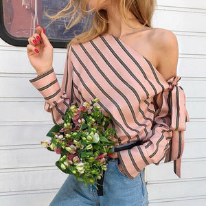 Striped One Shoulder Women Sexy Blouse