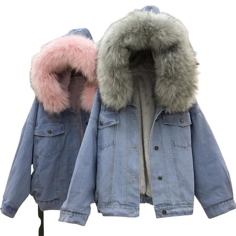 Winter Thick Denim Jean Jacket Faux Fur Collar Fleece Hooded