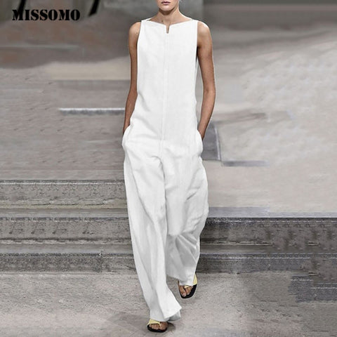 MISSOMO Solid Color Loose Cotton Casual Sleeveless Jumpsuit - Shop Livezy Lane