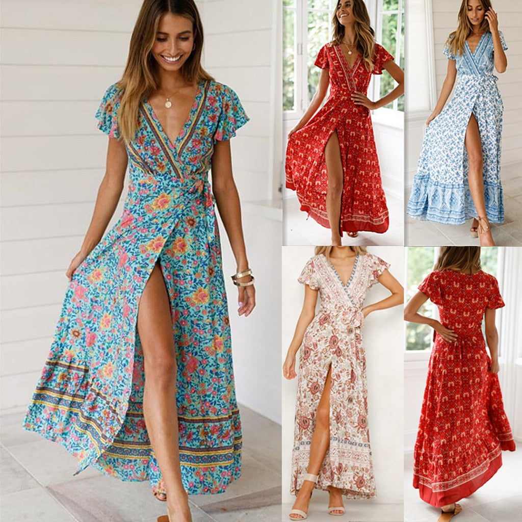 Bohemian  V-Neck Floral Summer Dress - Shop Livezy Lane