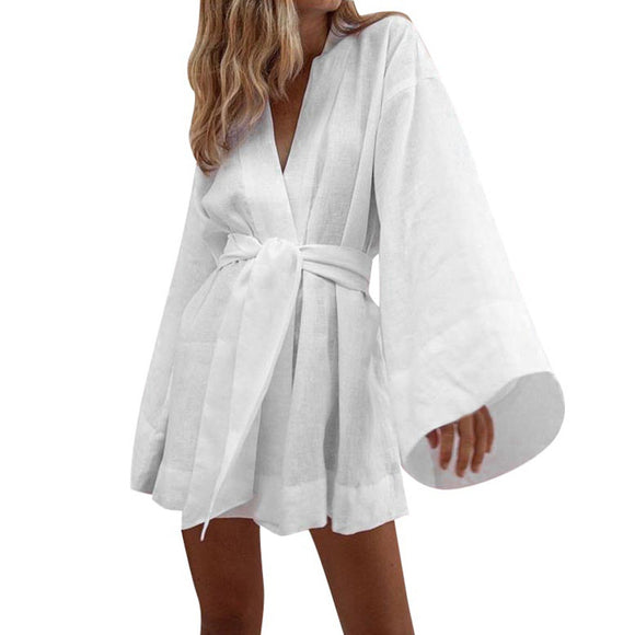 Cotton Kimono Dress - Sexy V Neck Long Flare Sleeve - Shop Livezy Lane