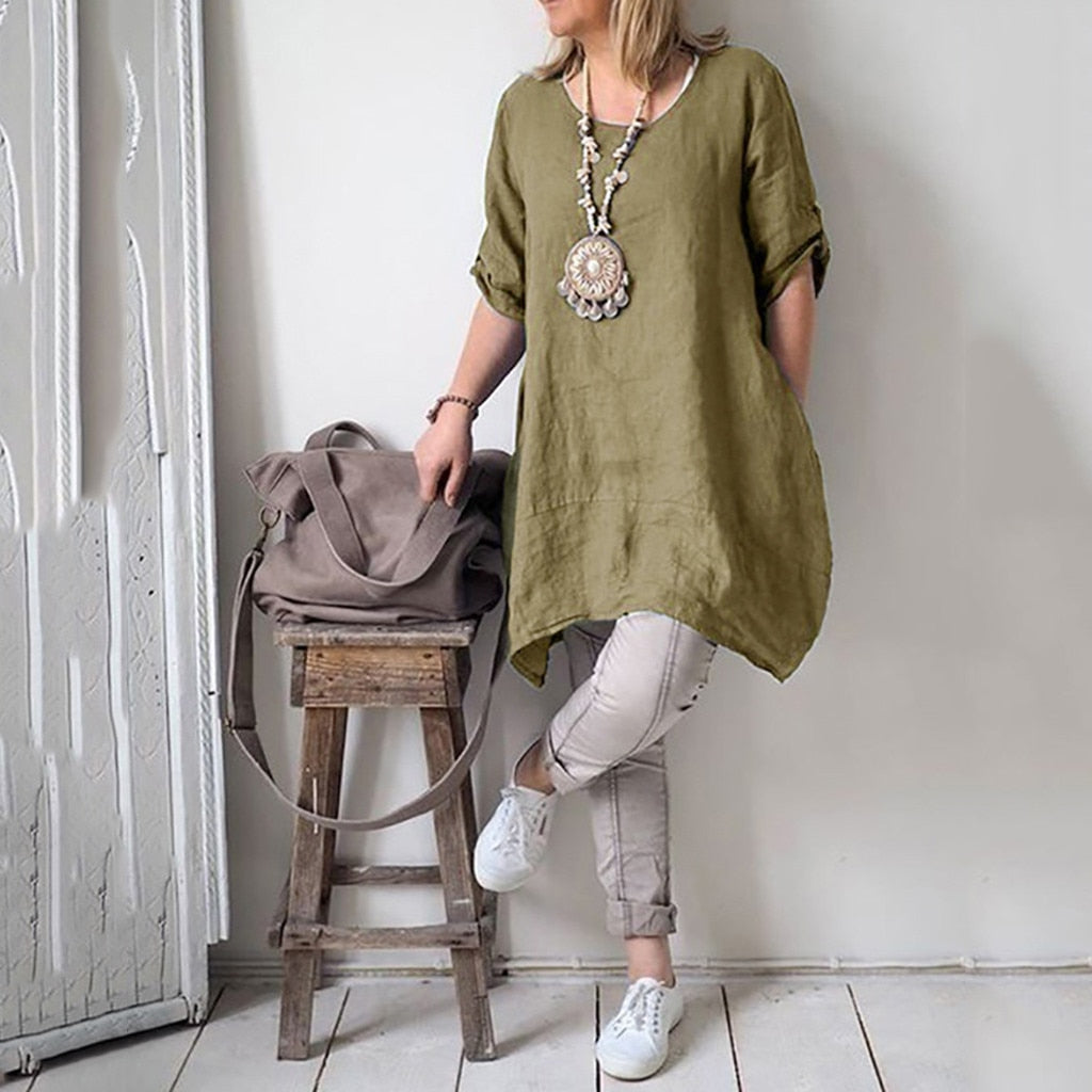 Loose Solid Color Blouse - Shop Livezy Lane