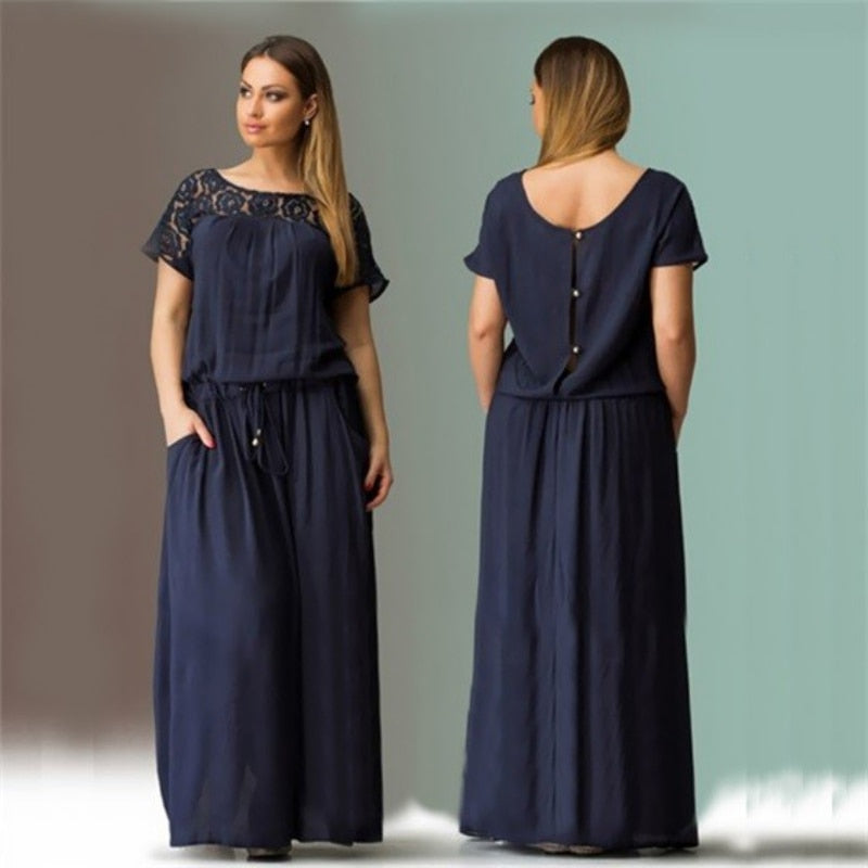 New Short Sleeve Lace Long Maxi Dress - Shop Livezy Lane