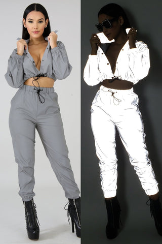 Night Reflective Sexy Crop Top With Pants Tracksuit - Shop Livezy Lane