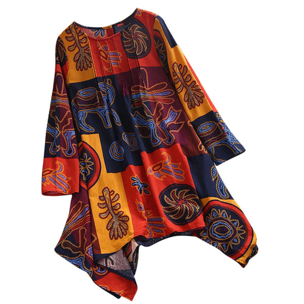 Beautiful Vintage Printed Long Sleeve  Tunic Top - Shop Livezy Lane