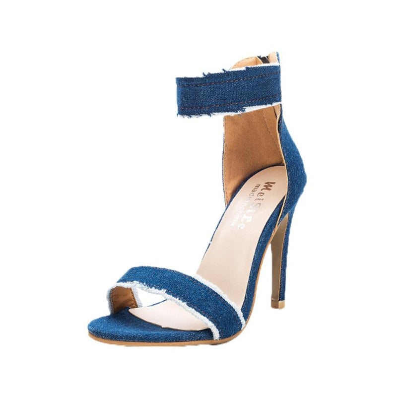 Denim High-Heeled Sandals - Shop Livezy Lane