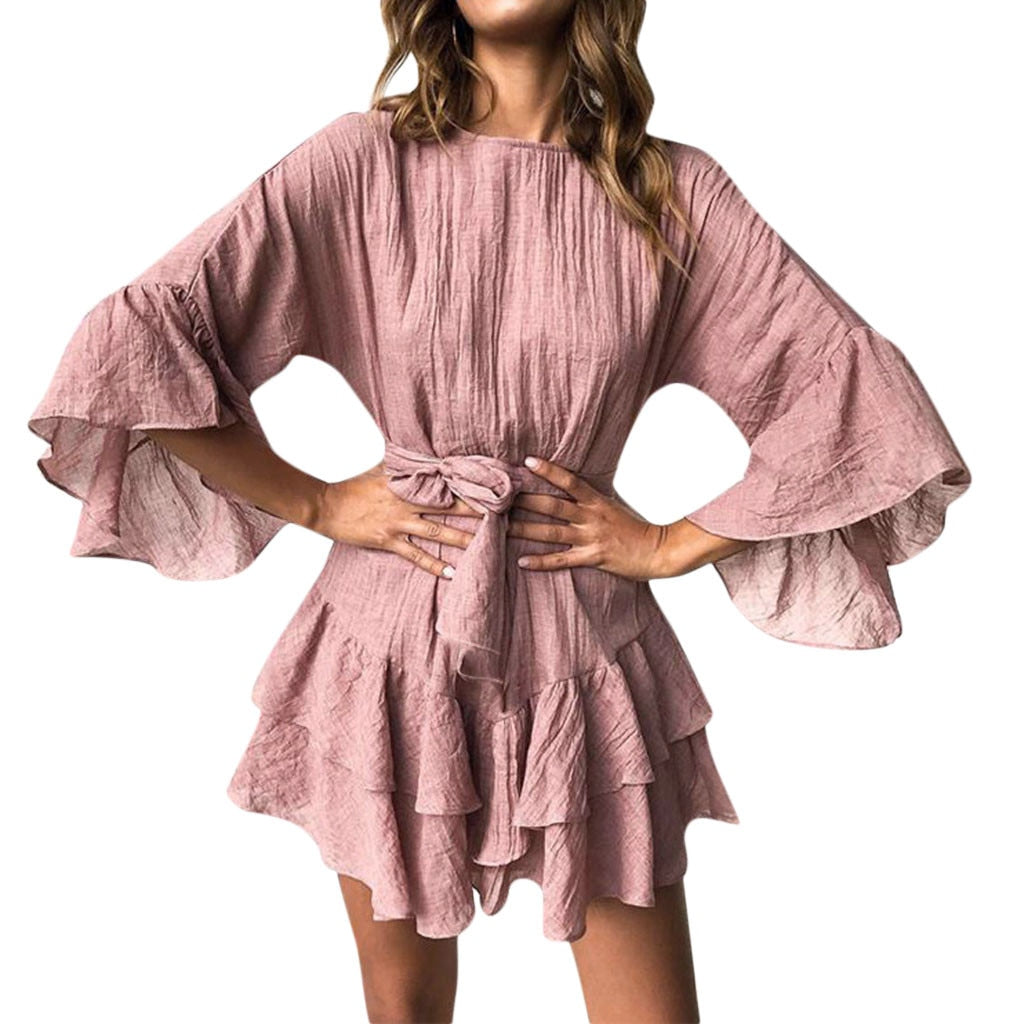 Ruffles Mini Dress With Belt - Shop Livezy Lane