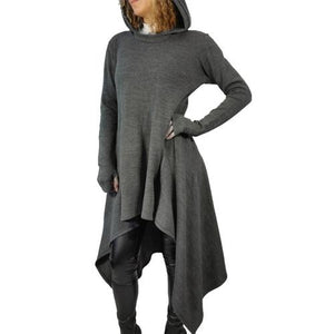 Women's Irregular Hem Long Sleeve Knitted Dress Sweater Pullover Hoody - Shop Livezy Lane