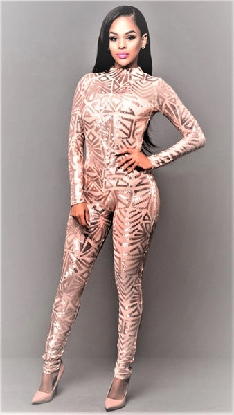 Sexy Sequin Jumpsuit Nude Illusion Slim Leg Pants Jumpsuits Rompers Gold - Shop Livezy Lane